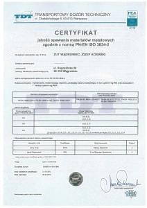 Certyfikat TDT 2015 jakość spawania