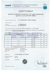 Certyfikat TDT 2015 spawanie pojazd¢w szynowych
